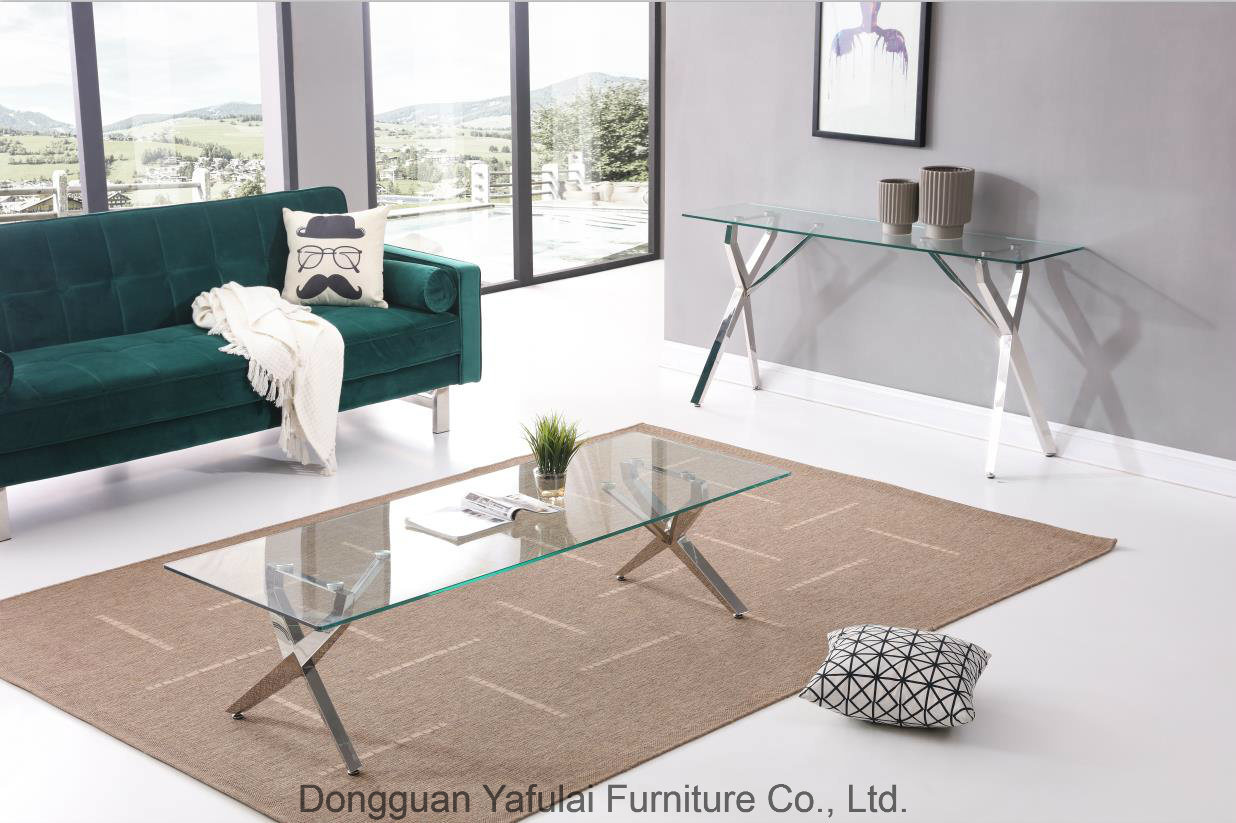 - China Classic Clear Glass Steel Dining Coffee Table Set - China