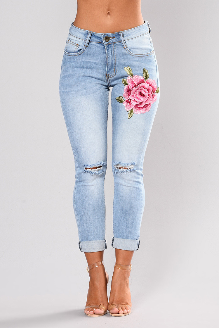 [Hot Item] Women′s High Waist Destroyed Ripped Hole Embroidered Distressed Skinny Denim Jeans