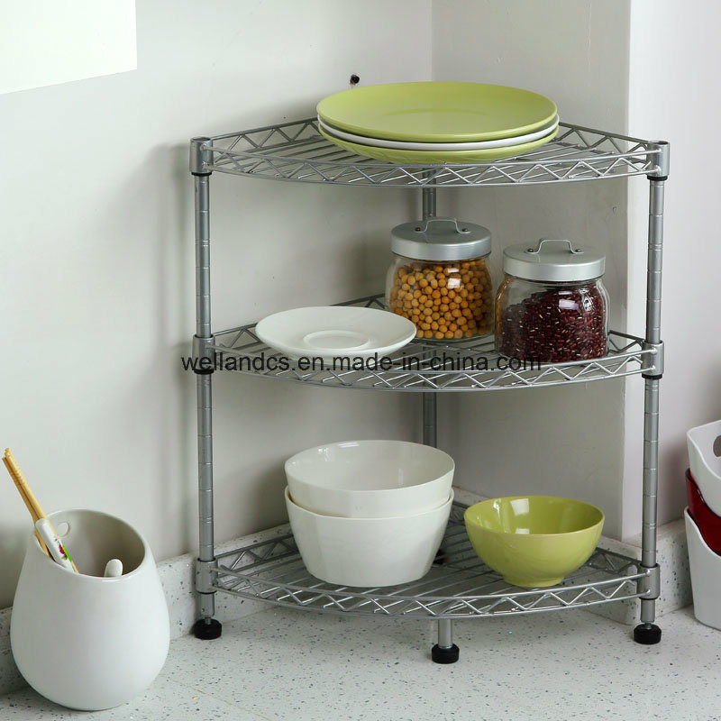 [Hot Item] Mini Chrome Metal Wire Corner Kitchen Table Shelf Rack with NSF  Approval