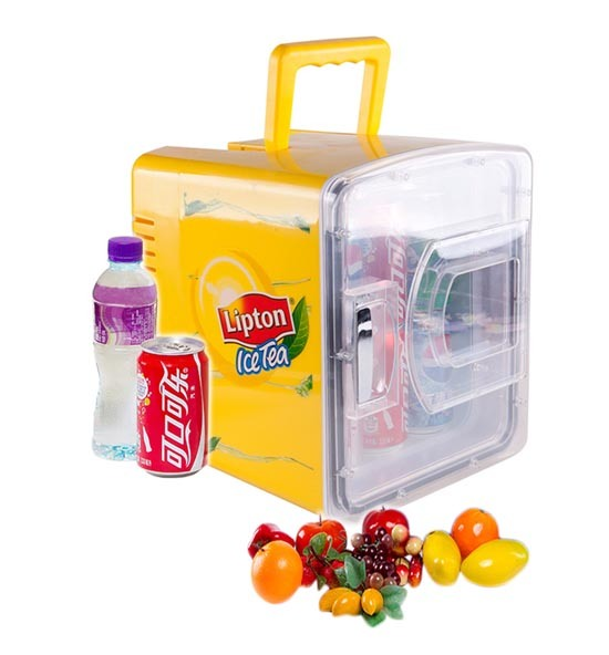 Transparent Door Mini Fridge 8 Liter DC12V, AC100-240V in Both Cooling and Warming Function