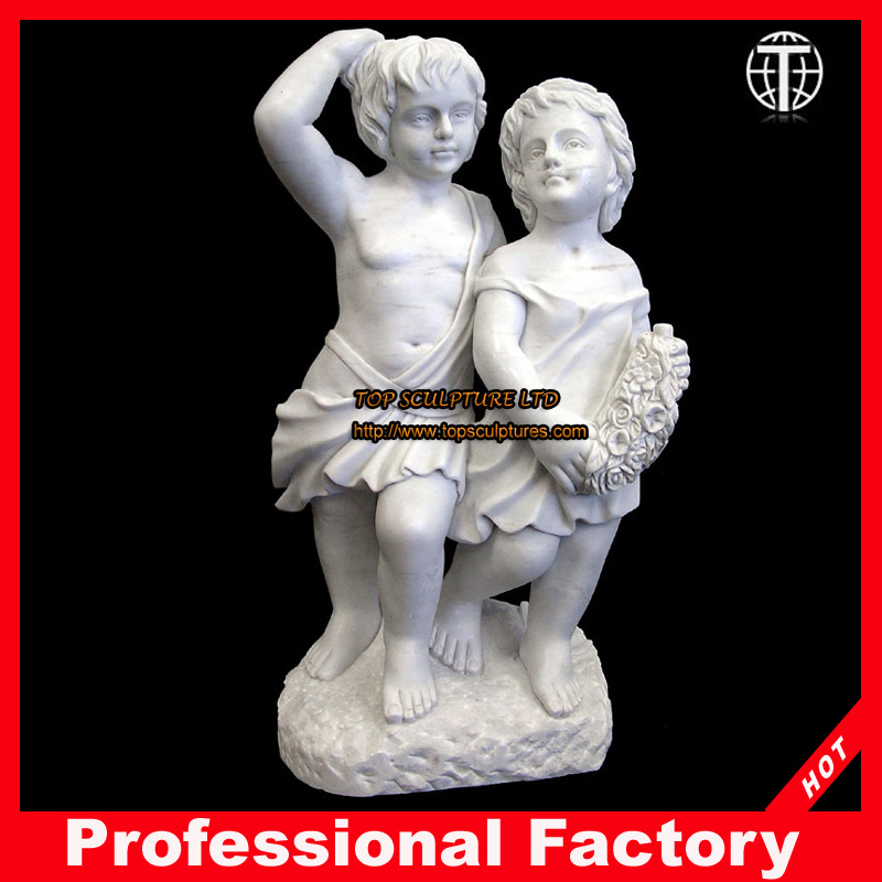 China Little Boy And Girl Marble Sculpture For Garden Decoration   China  Stone Carving, Marble Statue
