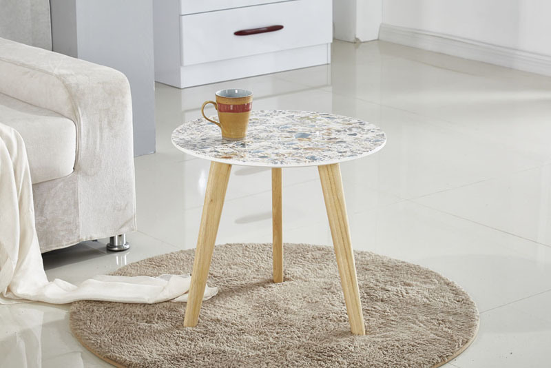 Hot Item Mdf Top Round Marble Effect Side Table