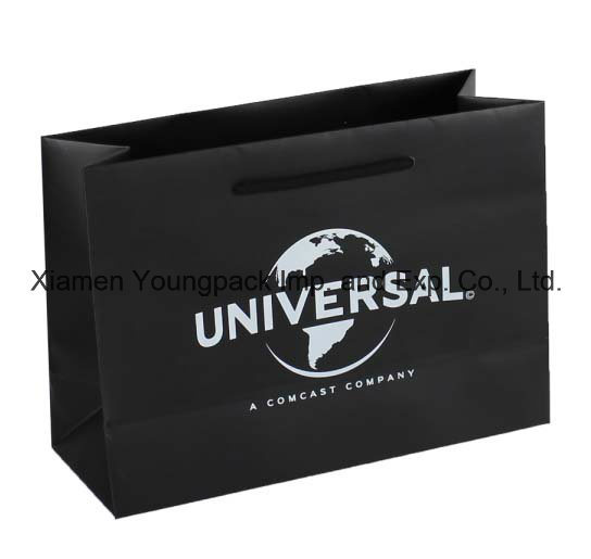 Overprinted Black Matt Gift Paper Carrier Bag with Rope Handles