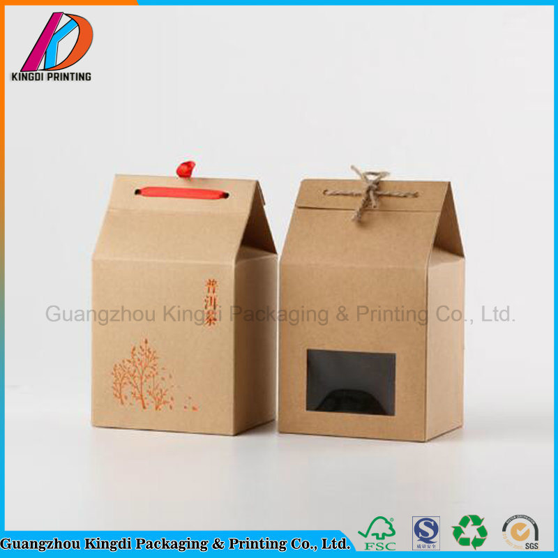 Hot Item House Shaped Brown Kraft Paper Gift Box With Ribbon For Teafood