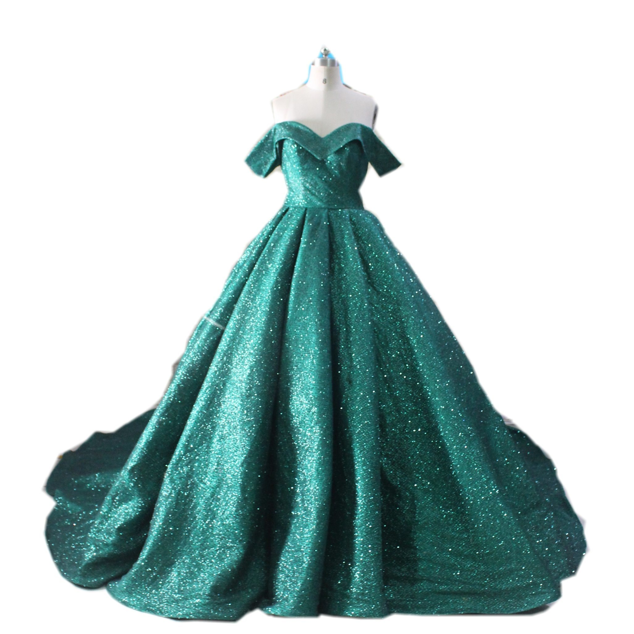 China Green Bridal Gowns Shinny Glitter Color Accent Wedding Dress ...