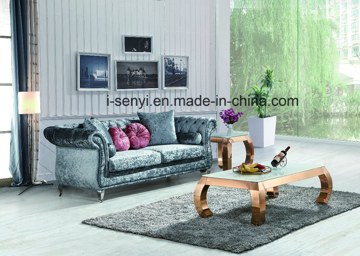 China modern italian fabric living room furniture hotel reception stainless steel leg sofa 3 seat china home furniture living room furniture