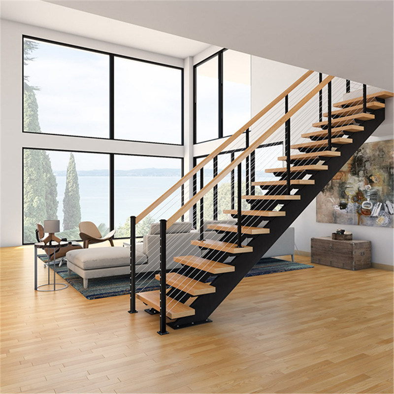 China Wire Railing Straight Steel Wood Stairs Design