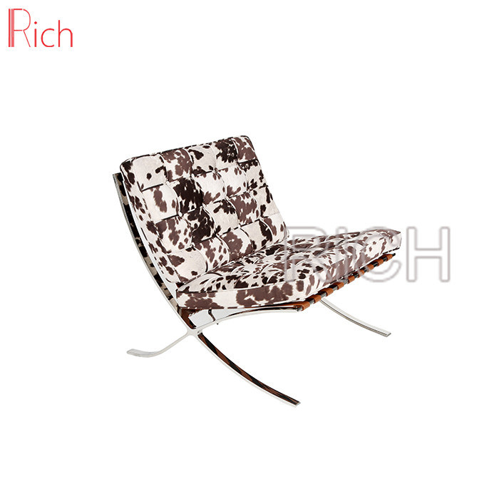 Hot Item Modern Design Cowhide Fur Barcelona Chaise Lounge Chair With Ottoman