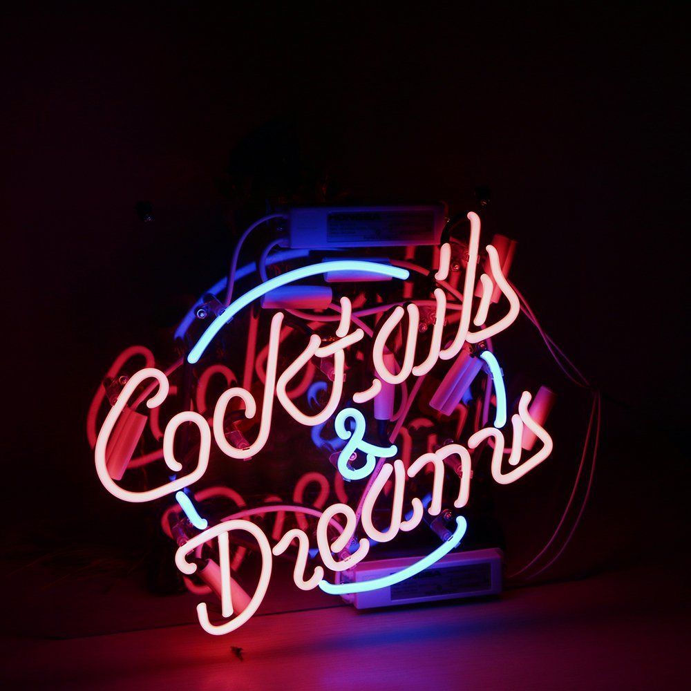 Hot Item New Cocktails And Dreams Neon Sign Pub Bar Happy Hour Home Lamp Party 17 X14