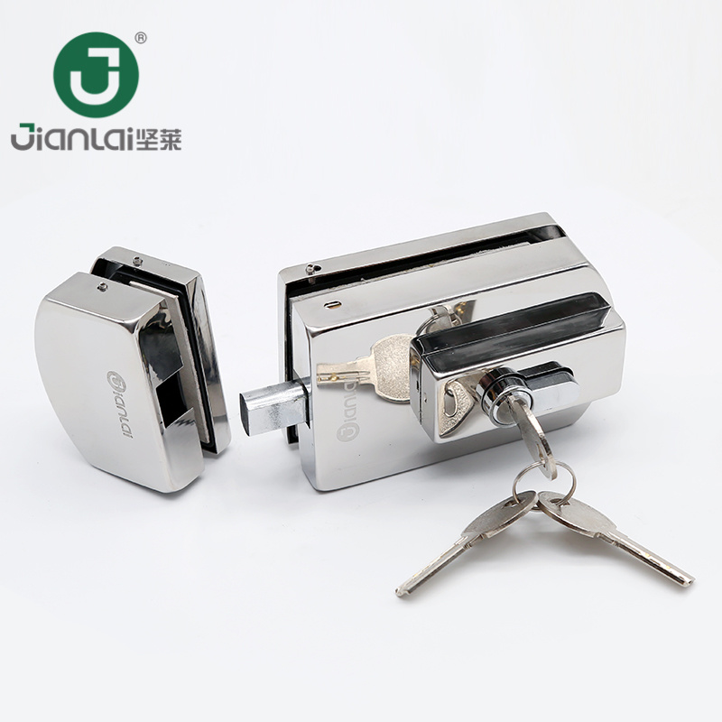 China Wholesale Frameless Glass Door Patch Fitting Small Square Lock