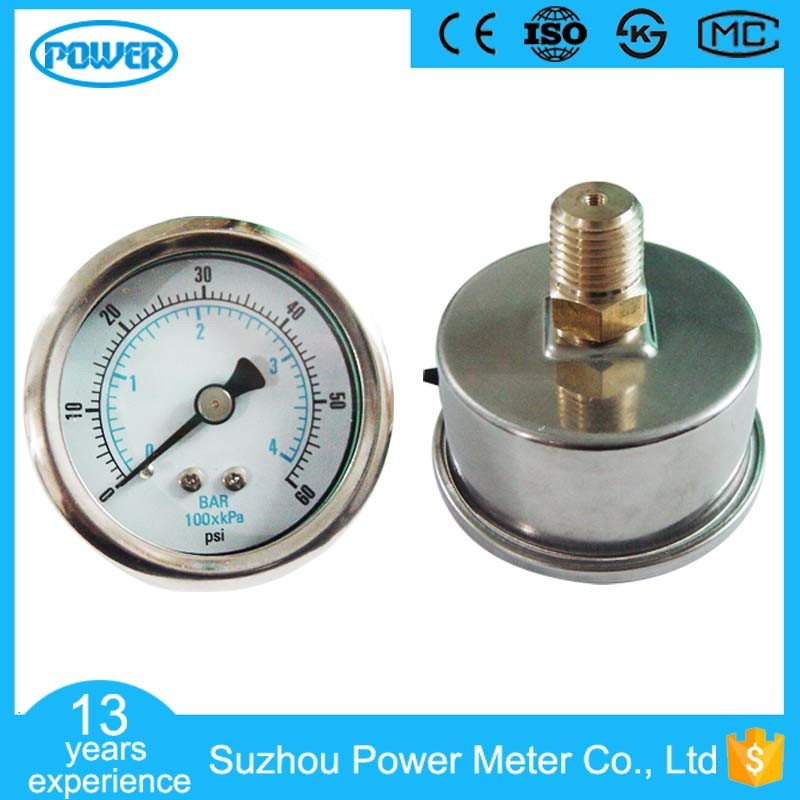 40mm Stainless Steel Case Back Connection Pressure Gauge