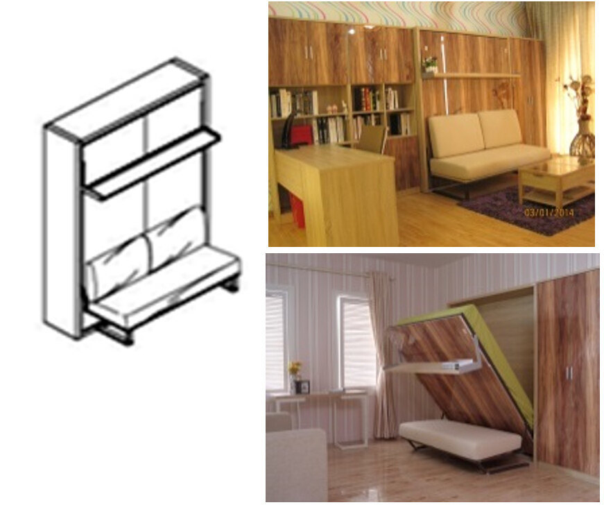 Vertical Tilting Murphy Wall Bed With Sofa And Bookshelf