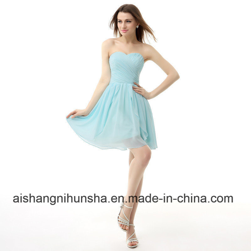 China Homecoming Dresses Pleated Short New Lace Up Back Prom Dress
