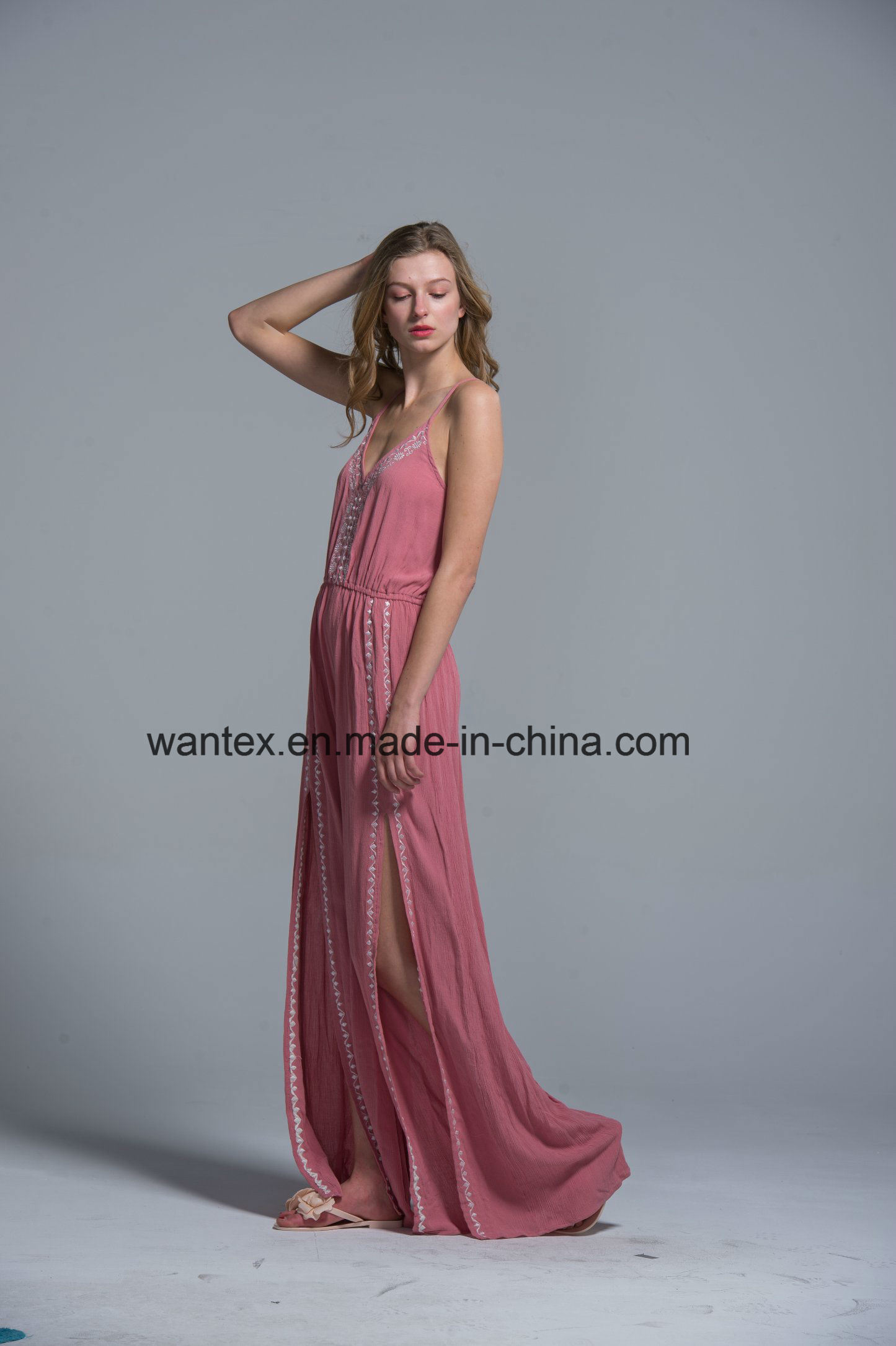 Ladies Long Dress Summer Fashion Pink Sexy Polyester Slit Sling