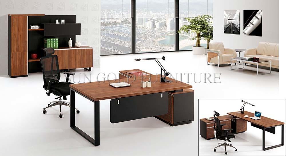 China Melamine Wooden Steel Foot And Black Back Board Office Desk Sz Od310