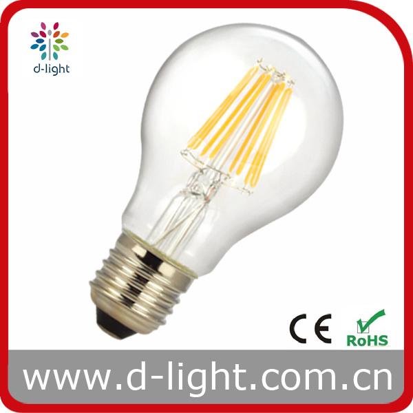 China A60 8W E27 All Glass Filament LED Bulb China Filament LED