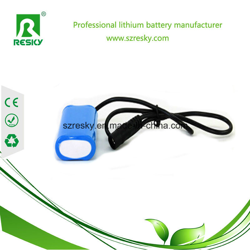Head Light And Flashlight 7.4V 6600mAh Battery Pack For Bicycle Light Headlamp