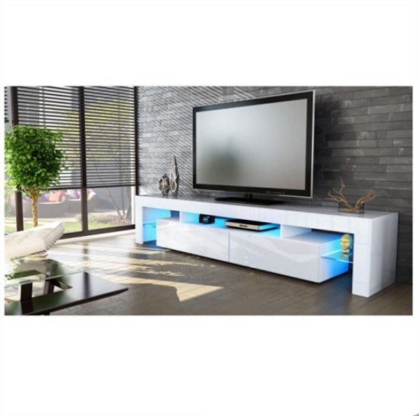 Hot Item High Glossy Panel Material Modern Wooden Design Led Tv Stand