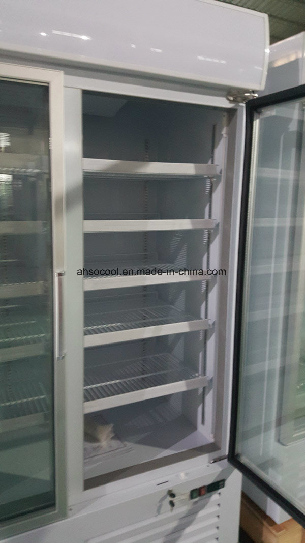 China Supermarket Upright Display Showcase Freezer With Swing Glass