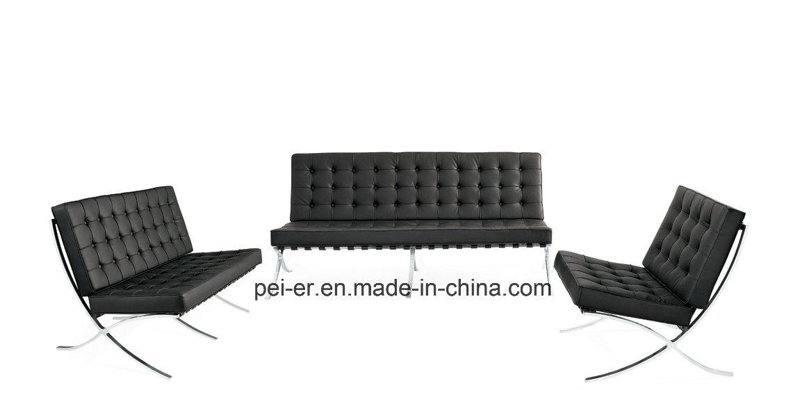 China Modern Leisure Barcelona Leather Steel Sofa Chair (PE F66 3)   China  Barcelona Chair, Leisure Sofa