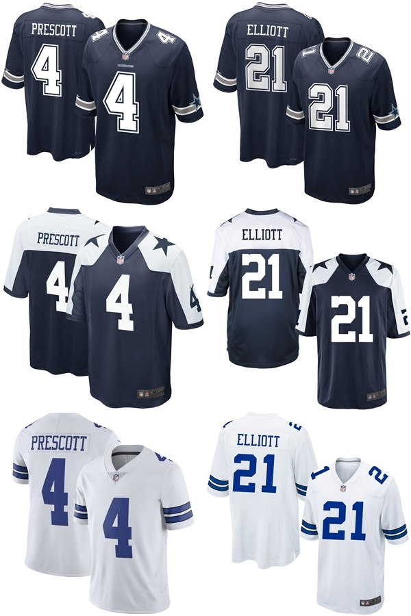hot sale online 40b1f 1f640 [Hot Item] Cowboys Dak Prescott #4 Ezekiel Elliott #21 Throwback Game  Football Jersey