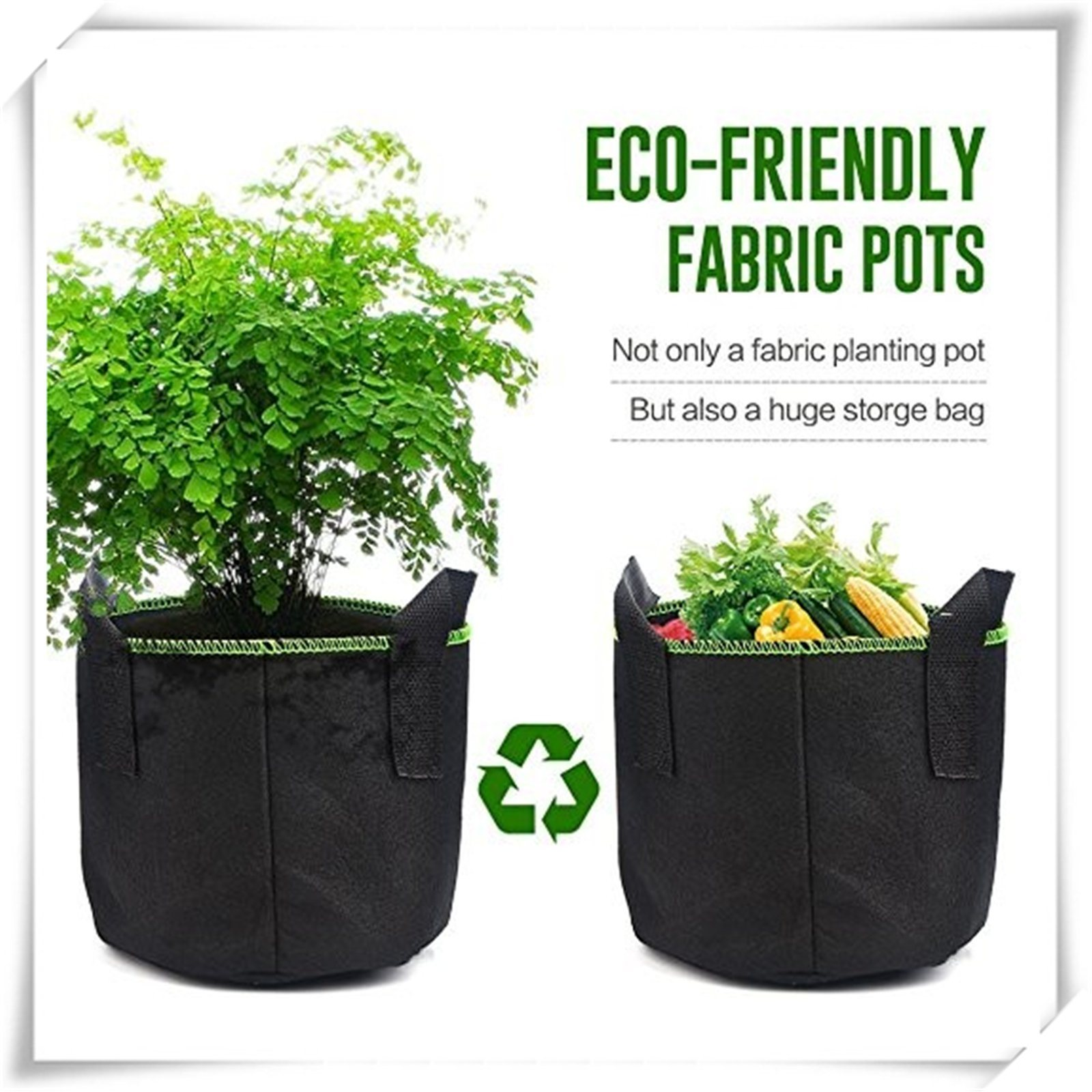 Hot Item 5 Packs Round Fabric Pots Breathable Felt Nursery Garden Planting Grow Bags