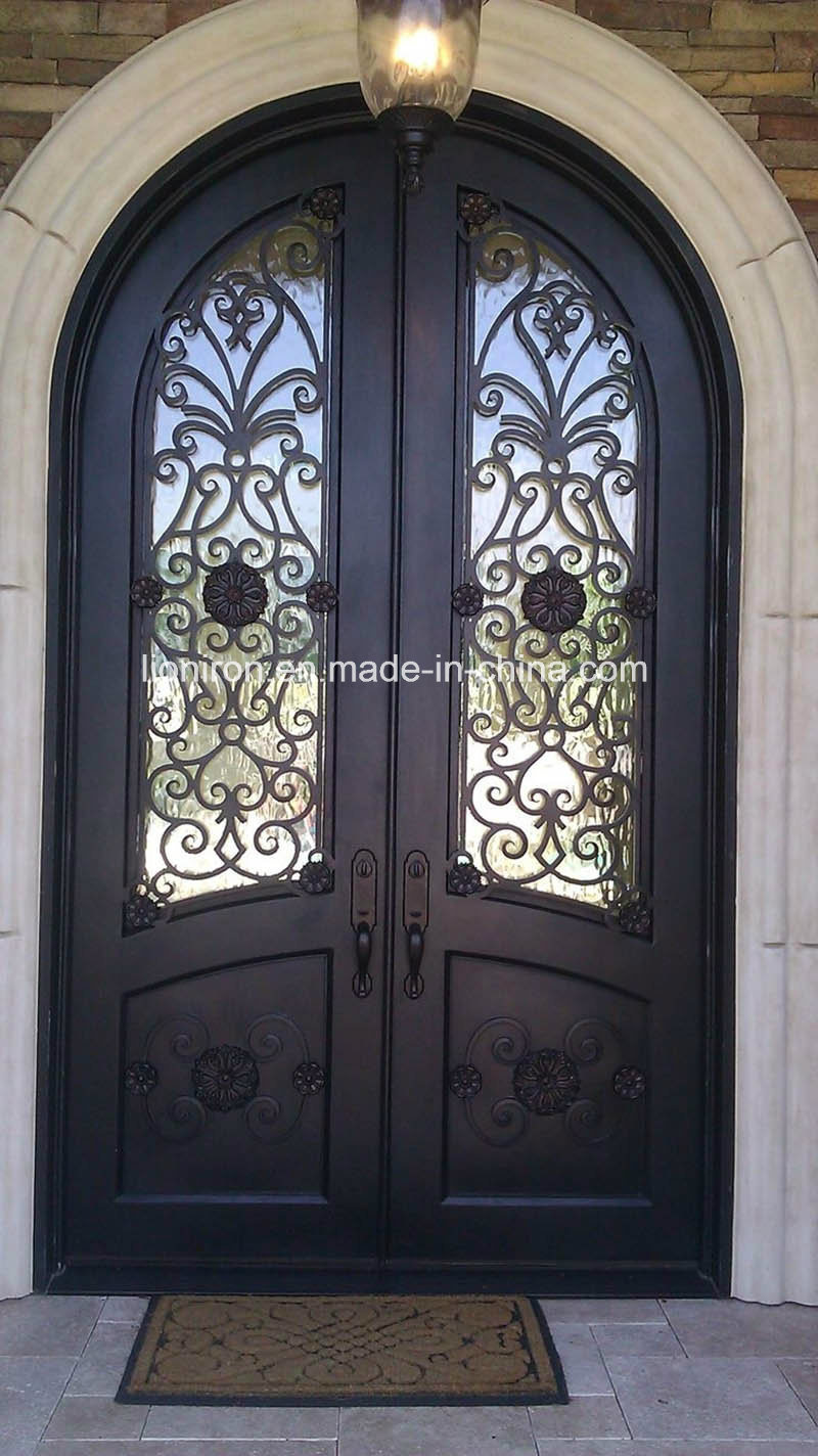 China Round Top Wrought Iron Front Entry Doors For Villa Photos
