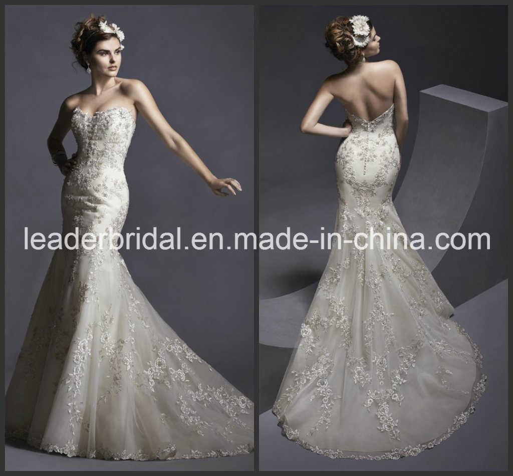 China Champagne Bridal Dresses Lace Bodice Mermaid Wedding Gowns ...