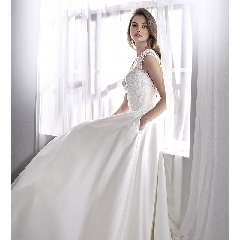 China White Satin Bridal Gowns Lace Cap Sleeves Wedding Dress 2018 ...