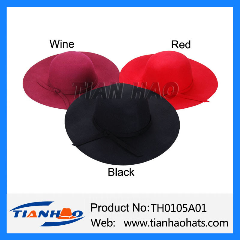 0b5ea01766817 Wholesale Dome Shape Wide Brim Floppy Wool Felt Women Hat with Felt Bow