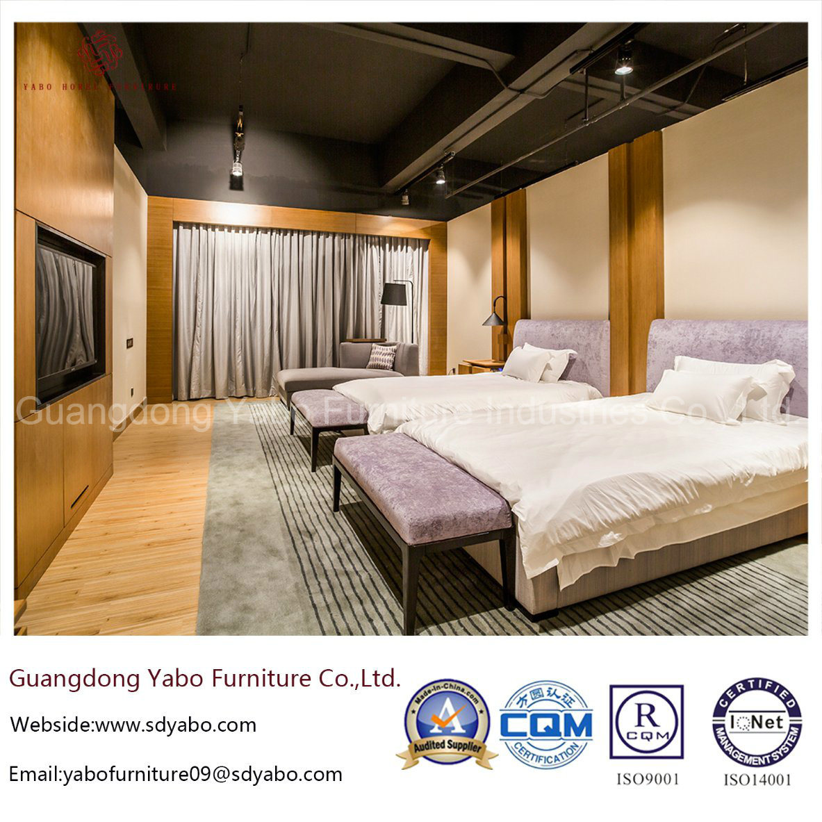 Contemporary Bamboo Hotel Bedroom Furniture With Double Bed
