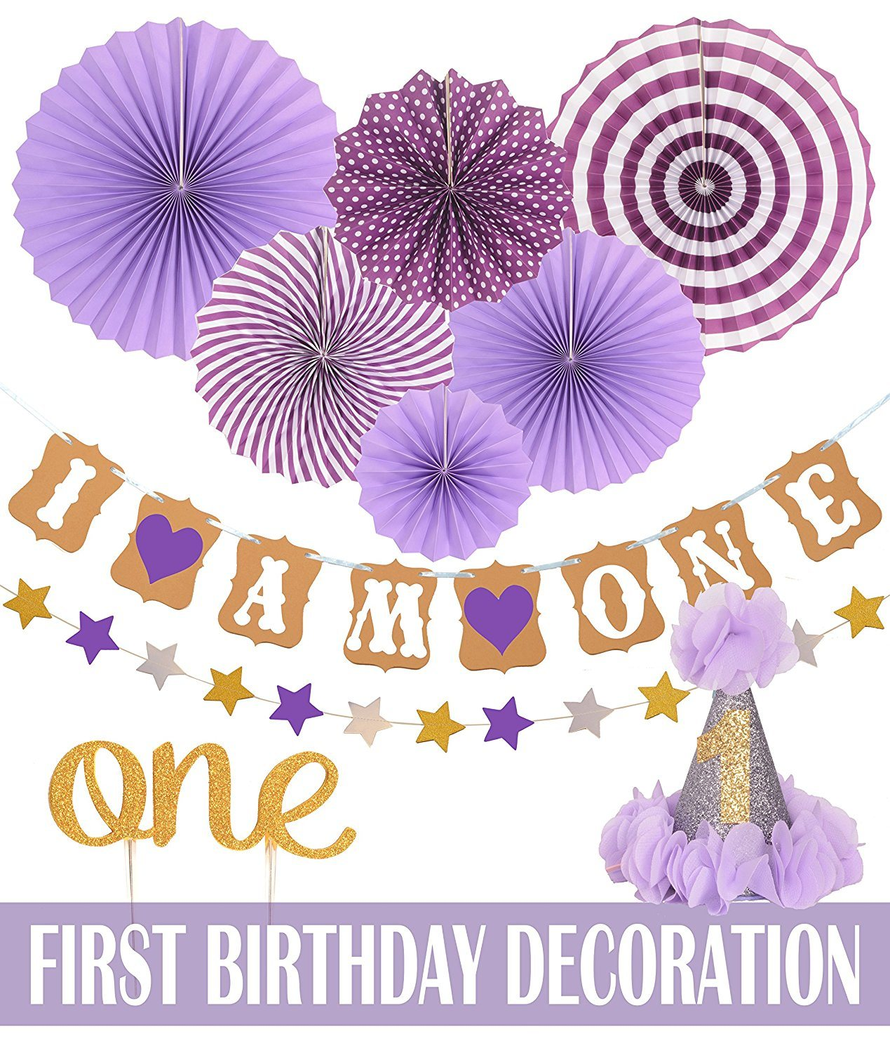 Hot Item Umiss 1st Baby Girl Birthday Party Decoration Kit Paper Decorations