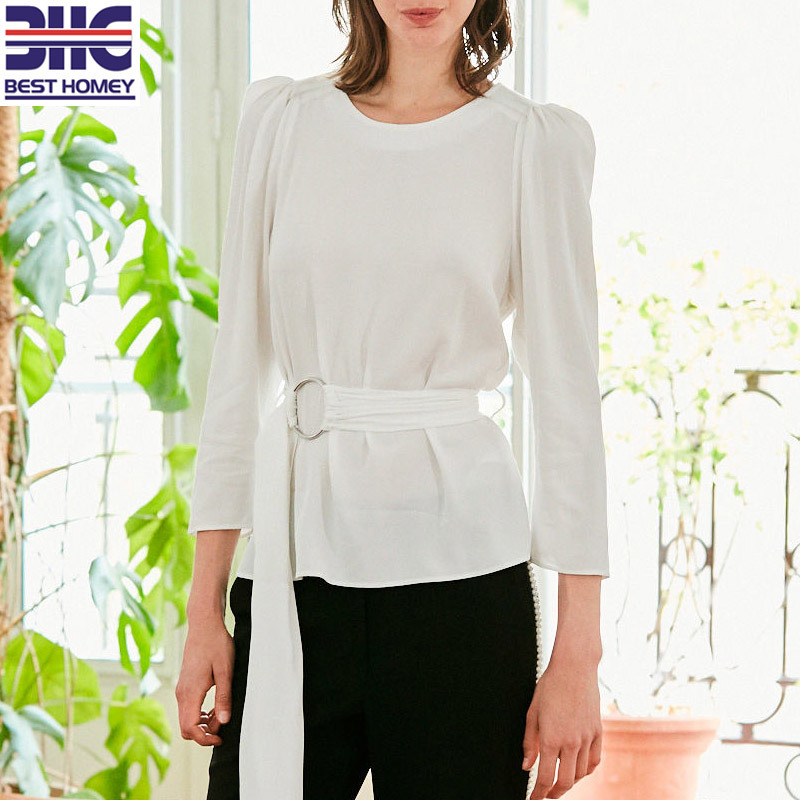 Women′ S 3/4 Length Sleeves Tops Puff Shoulder Casual Blouses with Buckled Belt for Office Ladies pictures & photos
