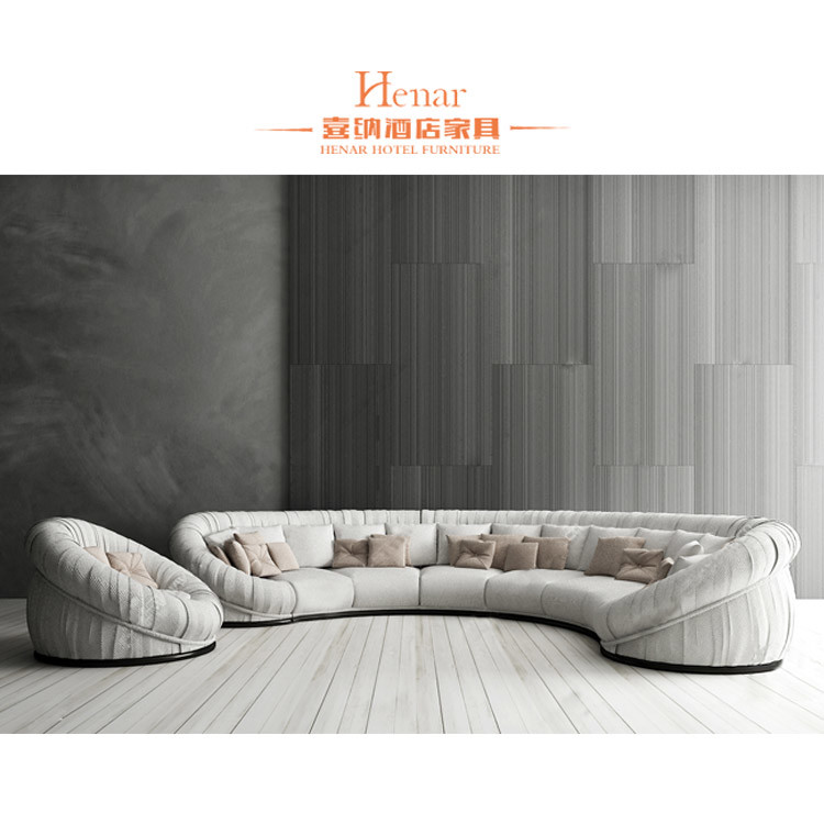 Hot Item Fashion Fabric Upholstered 6 Seats Hotel Lobby Sofa Designs