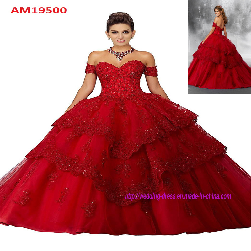 cdf3c9fe6f China off-Shoulder Sweetheart Red Ball Gown with Lace Appliques Puffy  Wedding Gowns - China Wedding Dress, Bridal Dress