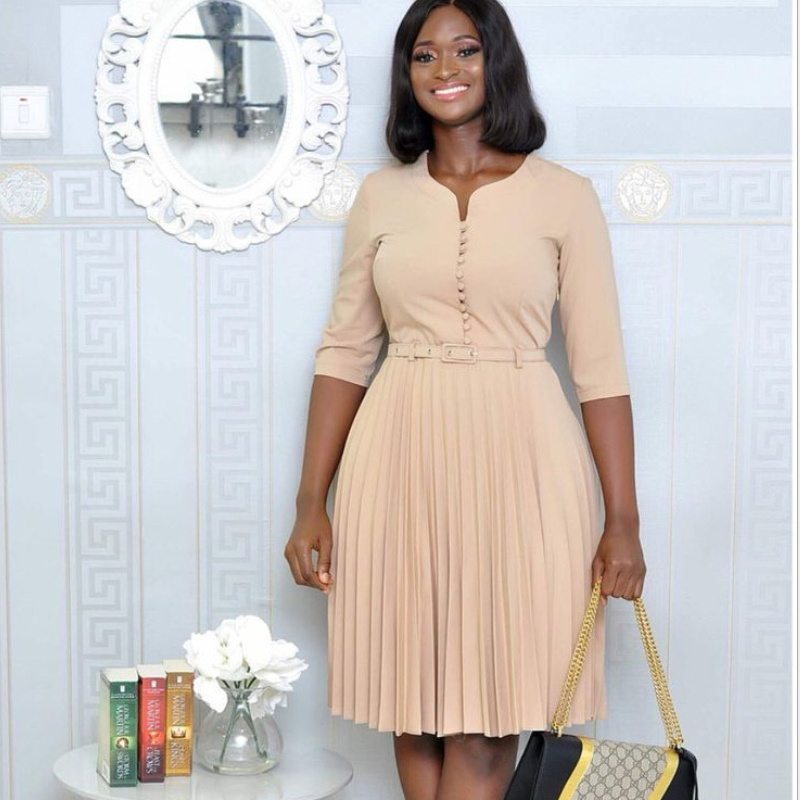 [Hot Item] Women Elegant Tie Waist Office Dress Plus Size Multicolor Woman  Dress