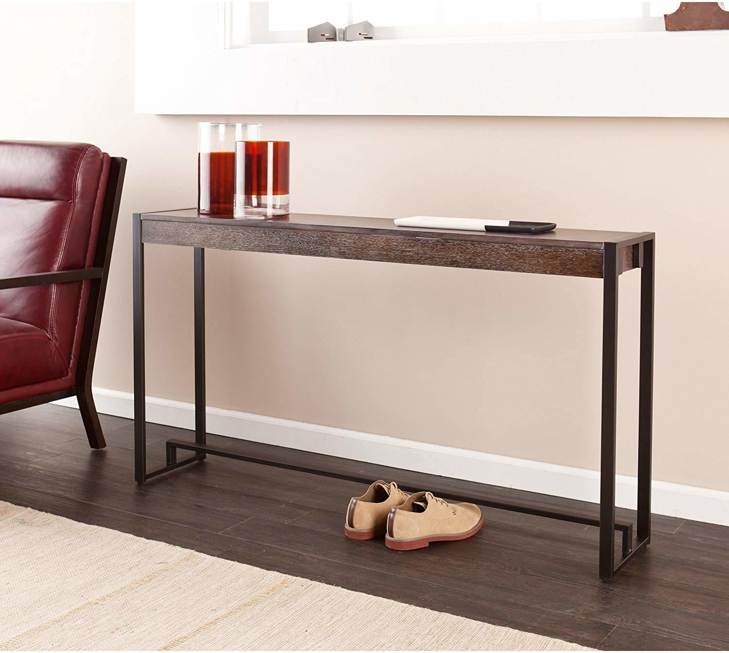 Espresso Skinny Console Table Desk, Sofa Table Desk With Drawers
