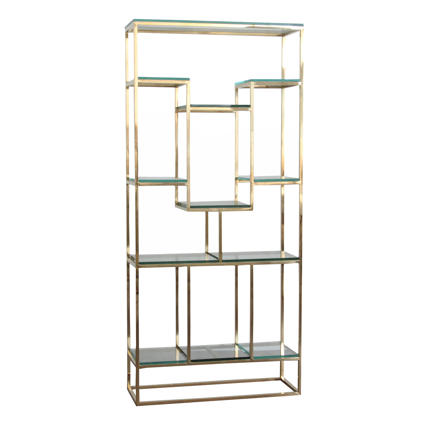 [Hot Item] Living Room Furniture Metal Gold Display Unit Cabinet with  Shelves
