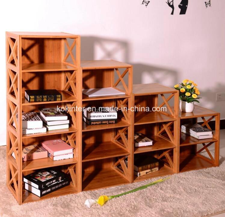 China Bamboo Plywood Ark Bookshelf Storage Cabinet