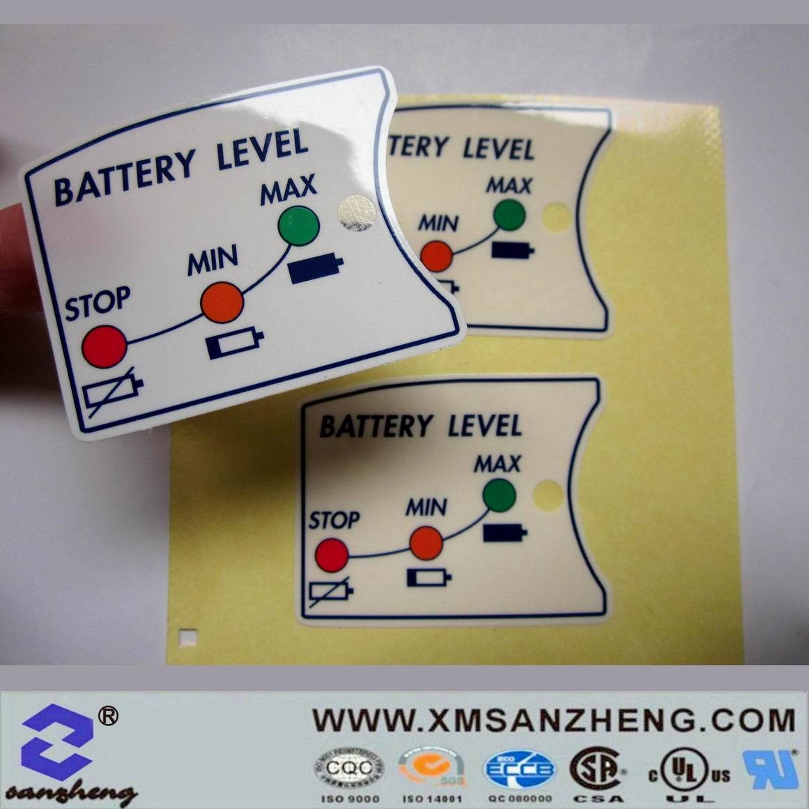 [Hot Item] Colorful Custom Clear Glossy Self Adhesive Weather Resistant  Power Charge Stickers
