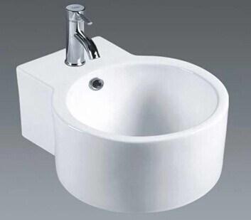 Bathroom Small Size Round Ceramic Wall Hung Wash Basin 082