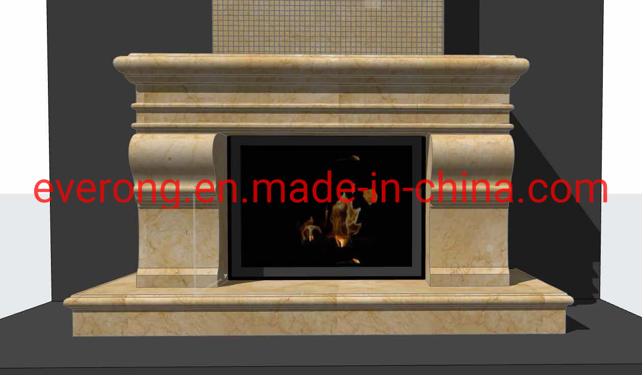Hot Item Modern Art White Beige Marble Granite Limestone Stone Outdoor Indoor Electric Fireplace For Fireplace Mantel Surround