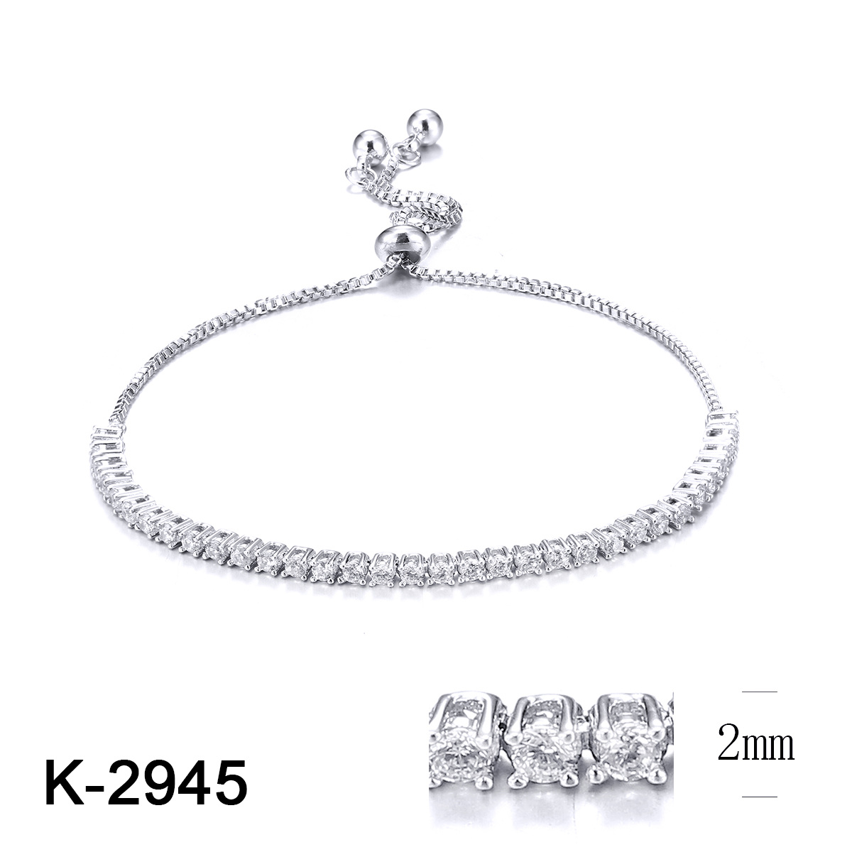 032f01c3e7f94 Wholesale 2019 New Fashion Jewelry 925 Sterling Silver Cubic Zirconia Stone  Adjustable Charm Tennis Bracelet for Women
