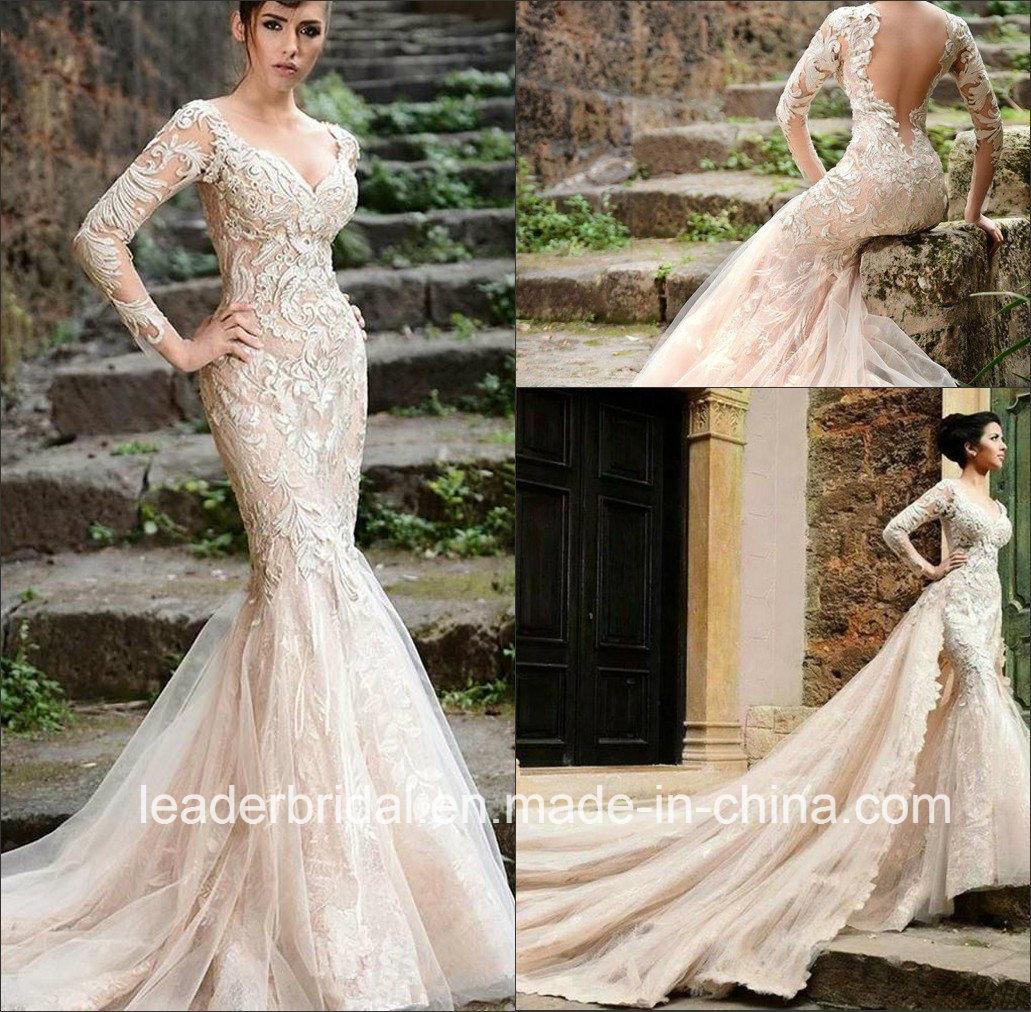china champagne bridal wedding gown long sleeves mermaid
