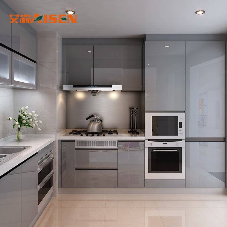 [Hot Item] Latest Contemporary Mini Kitchenette Display Cabinet Flat Pack  Kitchen Cabinet with Hinges