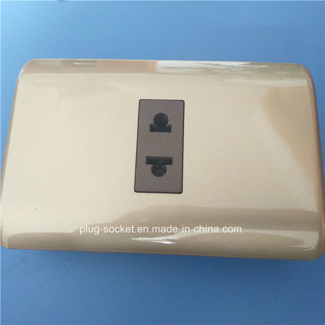 South America ABS Copper Material Gray Color Wall Switch and Socket (W-092) pictures & photos