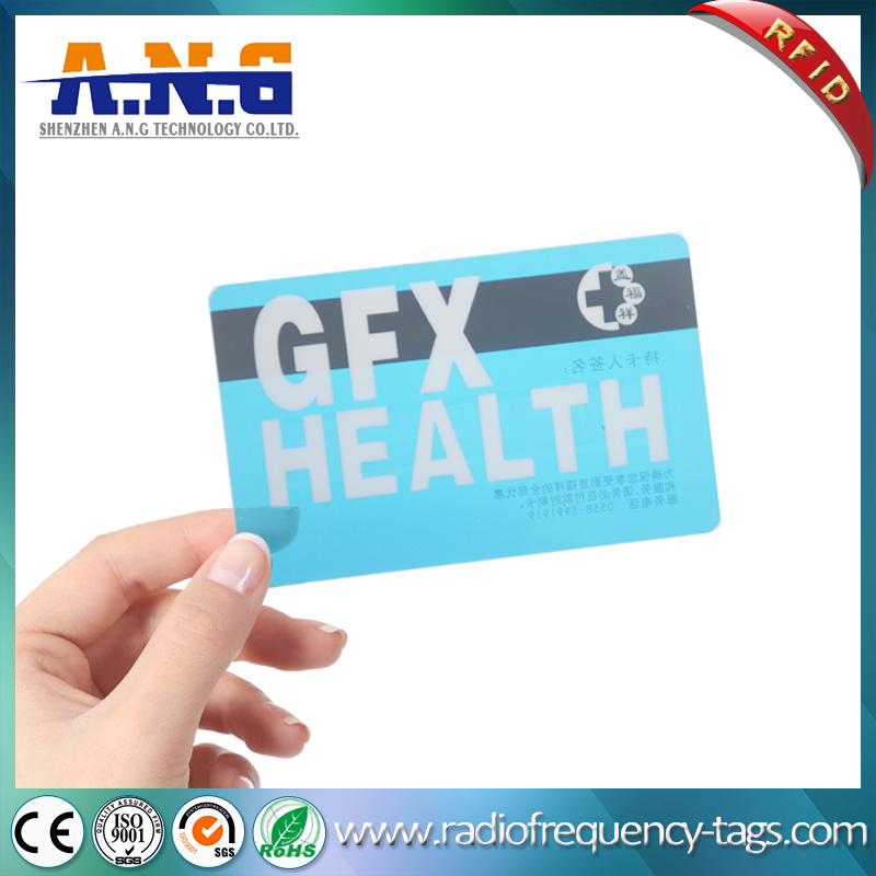 China Cr80 Size Clear Transparent Business Card RFID with Black ...