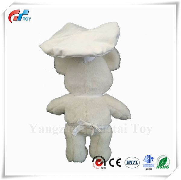 c4fc2d0daad Customized Design White Color Plush Teddy Bear Toy Soft Bear Baby Toy with Chef  Cap Stuffed Chef Bear Toy