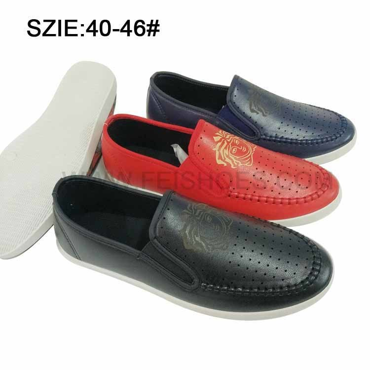 Latest Low Price Men′s Slip on Injection Casual Leather Shoes pictures & photos