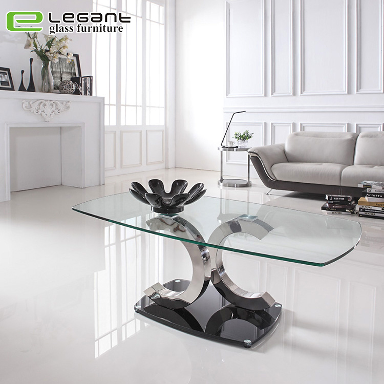 Hot Item Stainless Steel Base Living Room Clear Gl Center Table